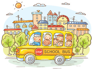 School bus with happy kids in the city