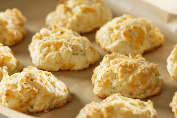 Cheddar Cheese Biscuits on baking sheet