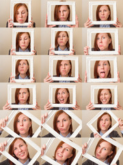 Multiple portraits collage of a beautiful young business woman with red hair and blue eyes holding a picture frame and making different expressions and doing different things.