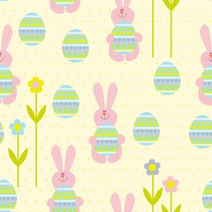 seamless easter rabbit and eggs