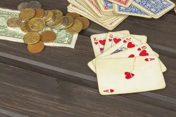 Card game poker. The winning set. Royal flash in poker. Gamble for money.