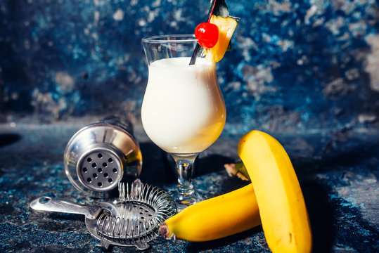 pina colada alcoholic fresh cocktail served cold with coconut an