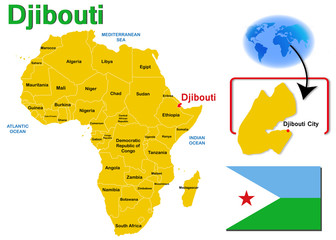 Djibouti, Map and Flag