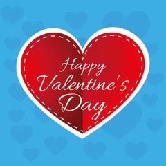 Happy Valentine's Day Greeting Card. White text on a big red heart and a blue backdrop with multiple hearts. Digital background vector illustration.