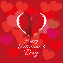 Happy Valentine's Day Greeting Card. White Color Text on Red Hearts Backdrop with One Big Stitched Heart in Center. Digital background vector illustration.