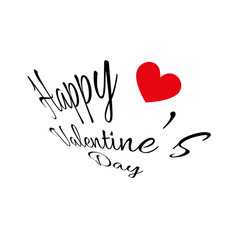 Happy Valentine's Day Greeting Card. Fancy Shaped Black Colored Text with One Red Heart. Digital background vector illustration.