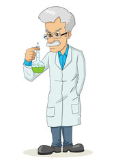 Cartoon illustration of a professor holding a lab tube