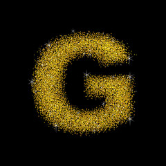 Gold dust font type letter G