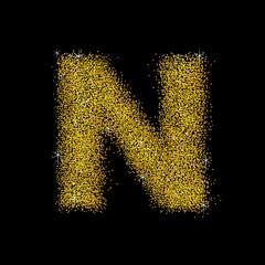 Gold dust font type letter N