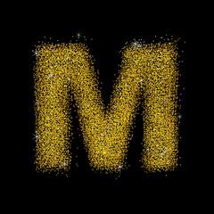 Gold dust font type letter M