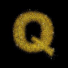 Gold dust font type letter Q