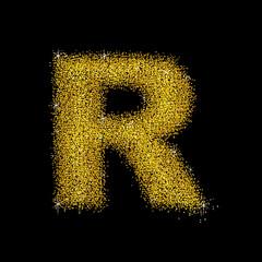 Gold dust font type letter R