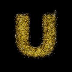 Gold dust font type letter U