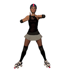 Roller Derby Girl Fist Pump Gesture With White Isolated Background