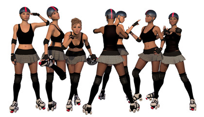 Roller Derby Girl Team With White Isolated Background