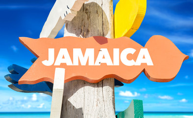 Jamaica welcome sign with beach