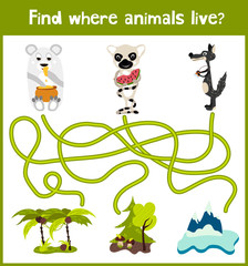 Fun and colorful puzzle game for children's development find where the sly lemur with watermelon, polar bear and gray wolf. Training mazes for preschoolers. Vector