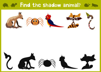 Cartoon Vector Illustration of Education Shadow Matching Game for Preschool Children find the five colorful shade for animals. All pictures are isolated on white background. Vector