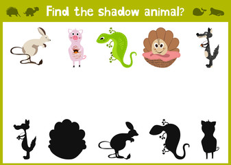 Cartoon Vector Illustration of Education Shadow Matching Game for Preschool Children find the shade for five different animals. All pictures are isolated on white background. Vector