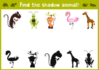 Cartoon Vector Illustration of Education Shadow Matching Game for Preschool Children find the shade for five animals. All images are isolated on a white background and can be moved. Vector