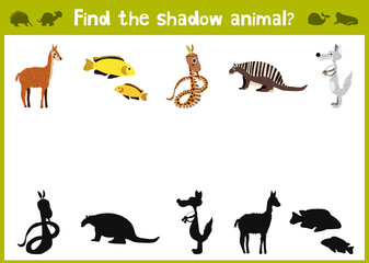 Cartoon Vector Illustration of Education Shadow Matching Game for Preschool Children find shade for all animals. All images are isolated on a white background and can be moved. Vector