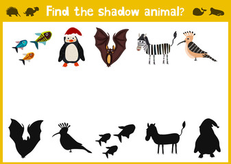 Cartoon Vector Illustration of Education Shadow Matching Game for Preschool Children find shade for the animals. All images are isolated on a white background and you can move them. Vector
