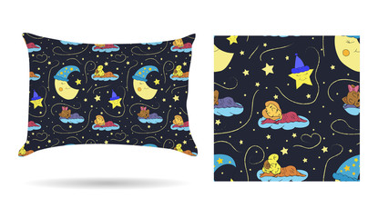 Cute children Decorative pillow with patterned pillowcase in cartoon style children are sleeping on the clouds in the beautiful night sky. Isolated on white. Interior design element. Vector