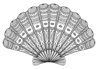 Seashell Zentangle for coloring book,tattoo, t shirt design and so on