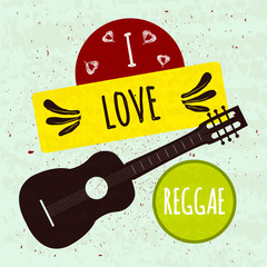 Juicy colorful typographic poster with musical instrument guitar on a light background with a texture. I love the Jamaican style reggae. Vector