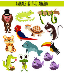 Set of Cute cartoon Animals and birds of the Amazon areas of South America isolated on white background. Jaguar, crocodile, piranha, Anaconda, Toucan,  parrot, turtle and iguana. Vector