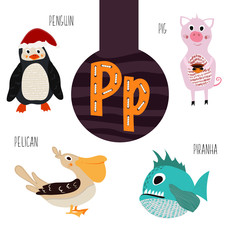 Fun animal letters of the alphabet for the development and learning of preschool children. Set of cute forest, domestic and marine animals with the letter p. Vector