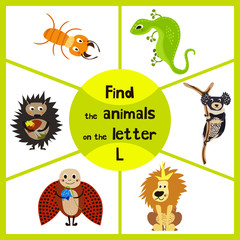 Funny learning maze game, find all 3 cute wild animals with the letter L, desert lizard, the lion of the Savannah and the insect ladybug. Educational page for children. Vector