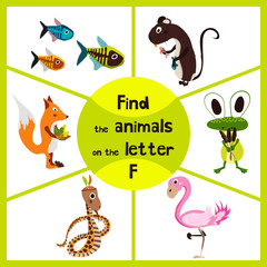 Funny learning maze game, find all 3 cute wild animals with the letter f, pink flamingos, marsh frog and forest Fox . Educational page for children. Vector