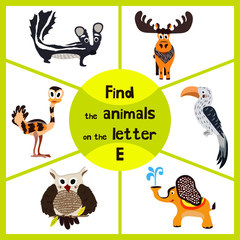 Funny learning maze game, find all 3 cute animals with the letter E, EMU, elephant, elk. Educational cranica for preschoolers. Vector