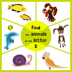 Funny learning maze game, find all 3 cute animals with the letter D, a Dolphin, a dog and a donkey. Educational page for children. Vector