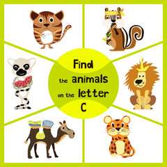 Funny learning maze game, find all 3 cute wild animals with the letter C, friendly kitten, African camel and forest Chipmunk . Educational page for children. Vector