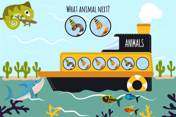 Cartoon Vector Illustration of Education will continue the logical series of colourful animals of worms on the ship in the ocean among sea fishes. Matching Game for Preschool Children. Vector