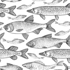 Fish seamless background. Sketch underwater marine life pattern. Swimming fish sketch