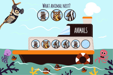 Cartoon Vector Illustration of Education will continue the logical series of colourful animals on a boat in the ocean among sea creatures. Matching Game for Preschool Children. Vector