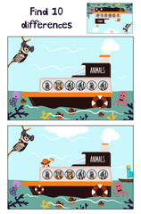 Cartoon of Education to find 10 differences in children's pictures of the boat with the animals of the wild jungle among the sea waters . Matching Game for Preschool Children. Vector