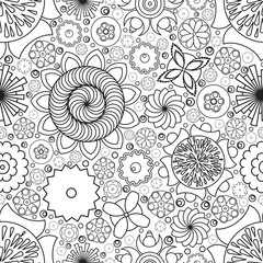 Vector seamless monochrome floral pattern. Imitation of hand dra