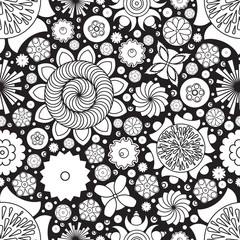 Vector seamless monochrome floral pattern. Imitation of hand drawn flower doodle texture, decorative coloring book for grown up and adult. Endless drawing for stress relief. Zentangle.