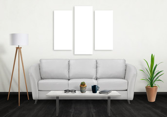 Isolated three wall art canvas. Sofa, lamp, plant and table in room interior.