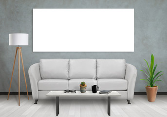 Isolated one wide wall art canvas. Sofa, lamp, plant and table in room interior.