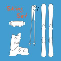 Set icon of winter sports equipment icons - ski and ski sticks, shoes, mask.