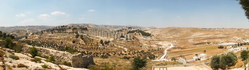 Panorama from Shepherd's field, Beit Sahour, east of Bethlehem,