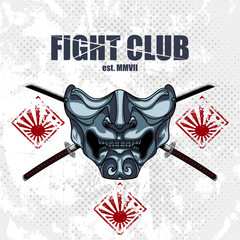 Fight club emblem with samurai half mask and katanas