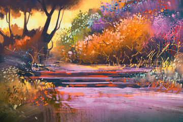 landscape with colorful trees in forest,illustration painting