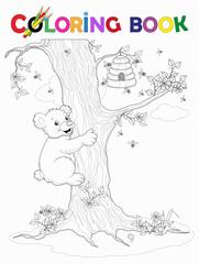 Ausmalbild Bär klettert am Baum zum Honigkorb Vektor Illustration isoliert auf weiß