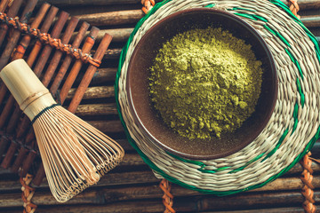 Organic green matcha tea powder
